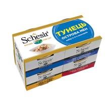 Schesir ТУНЕЦ ОСТРОВА МЭН натуральные консервы для котов, набор из 4-х банок.