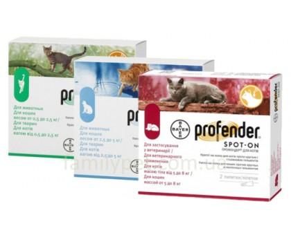 Bayer Profender Spot-On Капли на холку от всех видов глистов для кошек и котят старше 2-х месяцев
