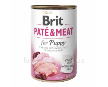 Brit Paté & Meat Puppy 400 g chicken & turkey Консерва для щенков с курицей и индейкой 400 г