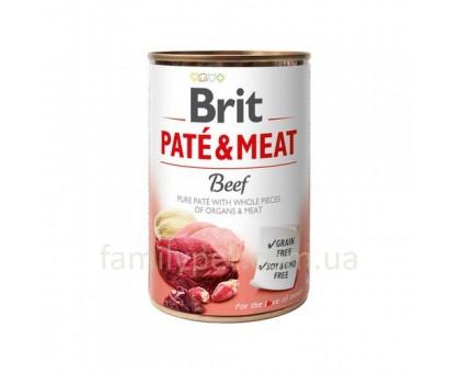 Brit Paté & Meat Dog Консерва  для собак с говядиной 400 гр