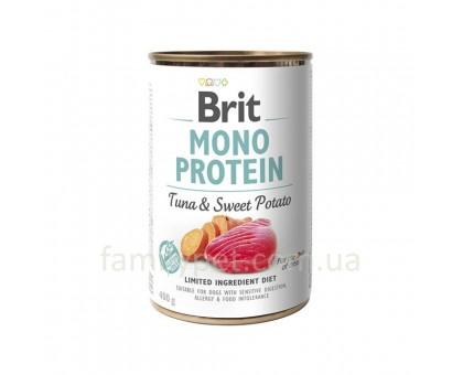 Brit Mono Protein Dog Консервы для собак с тунцом и бататом 400 г