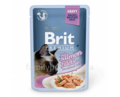 Brit Premium Cat pouch Консервы для стерилизованных кошек с филе лосося в соусе 85 г