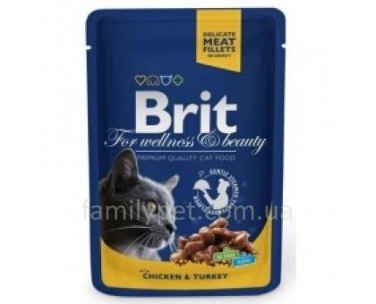 Brit Premium Cat pouch Консервы для кошек с курицей и индейкой 100 гр