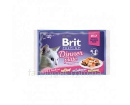 Brit Premium Cat pouch Обеденная тарелка в желе 4 шт
