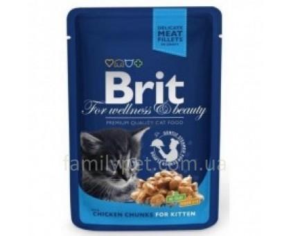Brit Premium Cat pouch Консервы для котят с курицей в соусе 100 гр