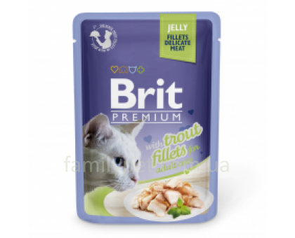 Brit Premium Cat pouch Консервы для кошек с филе форели в желе 85 г
