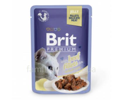Brit Premium Cat pouch Консервы для кошек филе говядины в желе 85 г