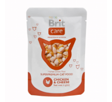 Brit Care Cat Консервы для кошек с курицей и сыром в соусе 80 г