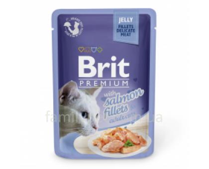 Brit Premium Cat pouch Консервы для кошек с филе лосося в желе 85 г