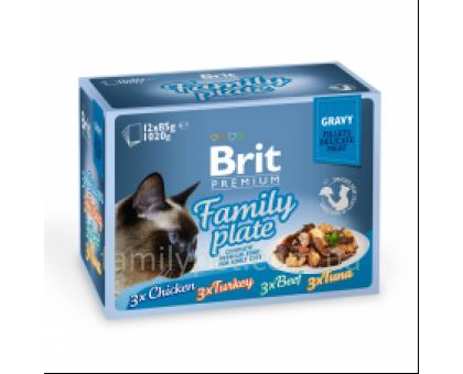Brit Premium Cat pouch Семейная тарелка в соусе 12 шт