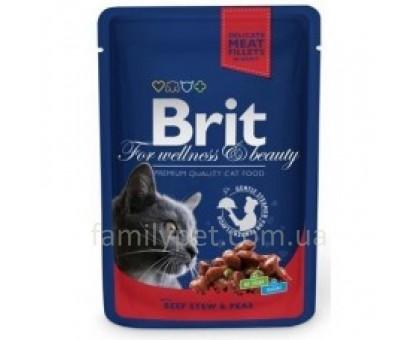 Brit Premium Cat pouch Консервы для кошек говядина с зеленым горошком 100 гр