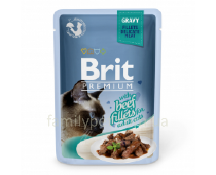 Brit Premium Cat pouch Консервы для кошек филе говядины в соусе 85 г