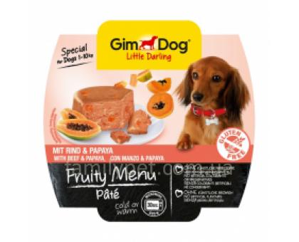 GimDog LD Fruity Menu Консервы для собак паштет с говядиной и папайей 100 г
