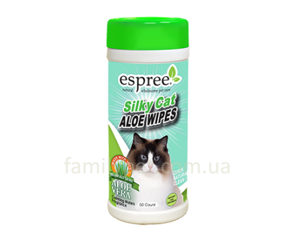ESPREE Silky Cat Grooming Wipes  Гипоаллергенные салфетки для кожи и шерсти 50шт