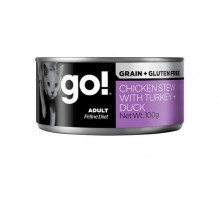 GO! Grain Free Chicken Stew with Turkey + Duck Консерва для взрослых кошек с курицей, уткой и индейкой 100 г