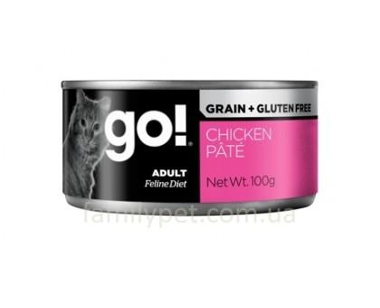 GO! Grain Free Chicken Pate Консерва с курицей для взрослых кошек 100 г