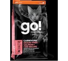 GO! Solutions CARNIVORE Беззерновой сухой корм с лососем и треской для котят и взрослых кошек