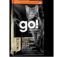GO! Solutions CARNIVORE Grain Free LAMB + WILD BOAR Cat Recipe Беззерновой сухой корм с ягненком и диким кабаном для котят и взрослых кошек