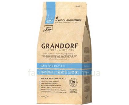 Grandorf White fish & Brown Rise Adult Indoor  - белая рыба для взрослых кошек