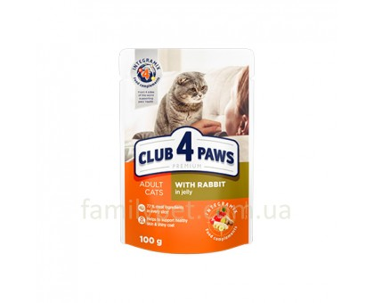 CLUB 4 PAWS Premium Консерва для кошек с кроликом в желе