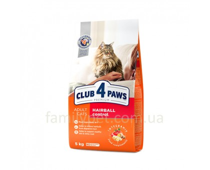 CLUB 4 PAWS Premium Сухой корм для котов выведение шерсти