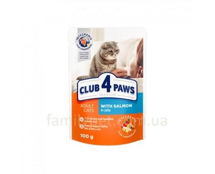 CLUB 4 PAWS Premium Консерва для кошек с лососем в желе