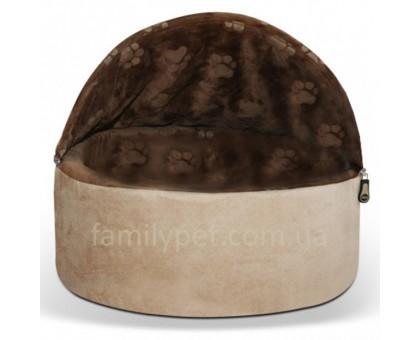 K&H Kitty Hooded Самосогревающийся домик-лежак для котов шоколадный/желто-коричневый