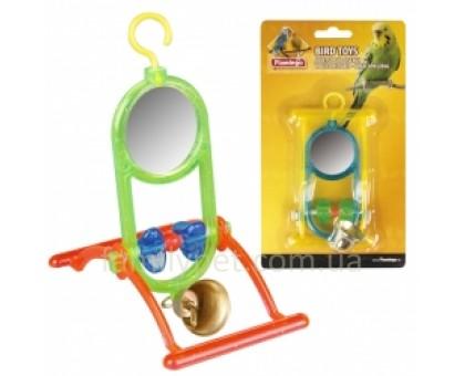Flamingo MIRROR+BELL Игрушка для попугаев зеркало с колокольчиком и жердочкой