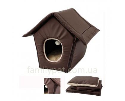 Flamingo COSY COTTAGE BROWN Домик трансформер для кошек и собак малых пород