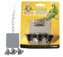 Flamingo MIRROR+3 BELLS Игрушка для попугаев квадратное зеркало с тремя колокольчиками