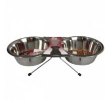 Flamingo DINNER SET Миски на подставке для собак и кошек нержавейка