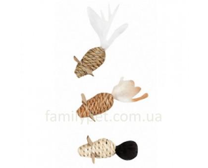 Flamingo MICE SEAWEED NATURE Игрушка для кошек веревочная мышь 3 шт