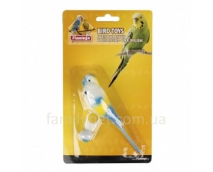 Flamingo PARAKEET ON RING Игрушка для попугаев, попугайчик на кольце из пластика  14 см