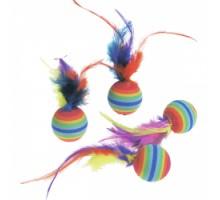 Flamingo RAINBOW BALLS Игрушка для кошек мяч с перьями 3 см