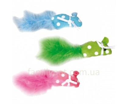 FlamingoPOLKA MOUSE Игрушка для кошек мышка с пером и кошачьей мятой