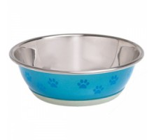 Flamingo Bowl Selecta+Paw Миска для собак и кошек с рисунком лапы нержавейка