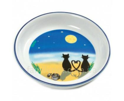 Flamingo Cat&Moon Миска для собак и кошек керамика с романтическим рисунком котов под луной