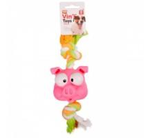 Flamingo Animal Head+Rope Игрушка для собак  винил 32 см