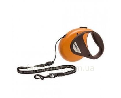Flamingo DogxToGo Cord Поводок рулетка для собак до 50 кг светоотражающий 5 м оранжевая