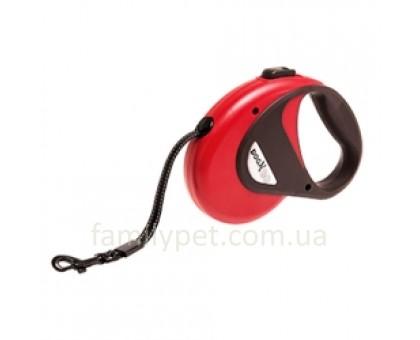 Flamingo DogxToGo Cord Поводок рулетка для собак до 12 кг светоотражающий  8 м красная