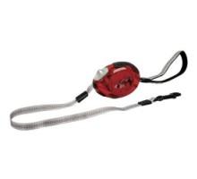 Flamingo DogxToGo Belt Glassy Поводок рулетка для собак до 12 кг с мягкой петлей на руку красная