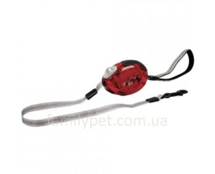 Flamingo DogxToGo Belt Glassy Поводок рулетка для собак до 35 кг с мягкой петлей на руку красная