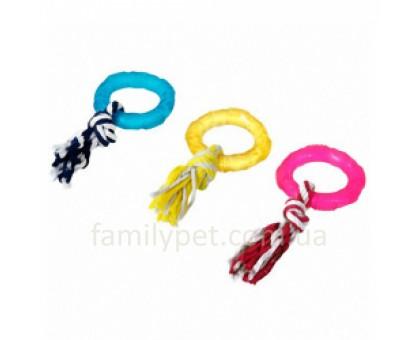 Flamingo Good4Fun Ring With Rope Игрушка для собак фигурное кольцо с веревкой 8 см