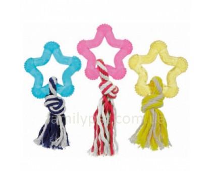 Flamingo Good4Fun Star With Rope Звезда игрушка для собак с веревкой 8 см
