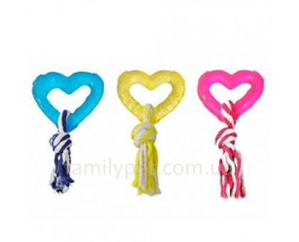 Flamingo Good4Fun Hart With Rope Игрушка для собак сердце с веревкой 8 см