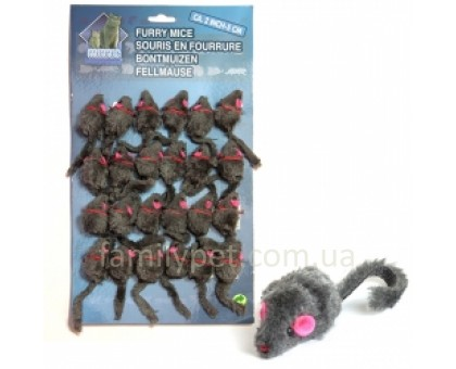 Flamingo Furry Mouse Grey Игрушка для кошек мышь серая плюш