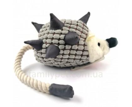 Flamingo Hedgehog Plush Ежик с веревочным хвостом игрушка для собак с пищалкой