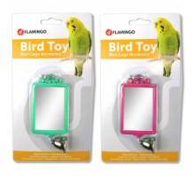 Flamingo Mirror Straight+Bell Игрушка для попугаев прямоугольное зеркало с колокольчиком 6х8 см