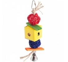 Flamingo Papyr Parakeet Toy Cube Small Плетеная подвесная игрушка для средних и крупных попугаев