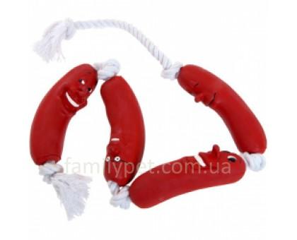 Flamingo Sausage On Rope Сосиска на веревке игрушка для собак